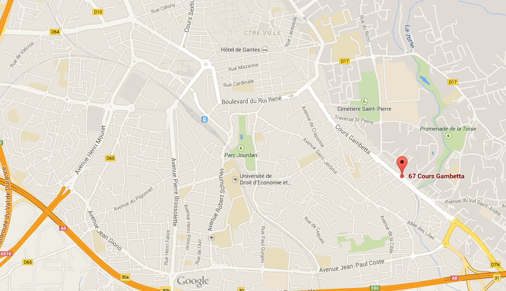 Plan d'accès Cours Gambetta Aix-en-Provence